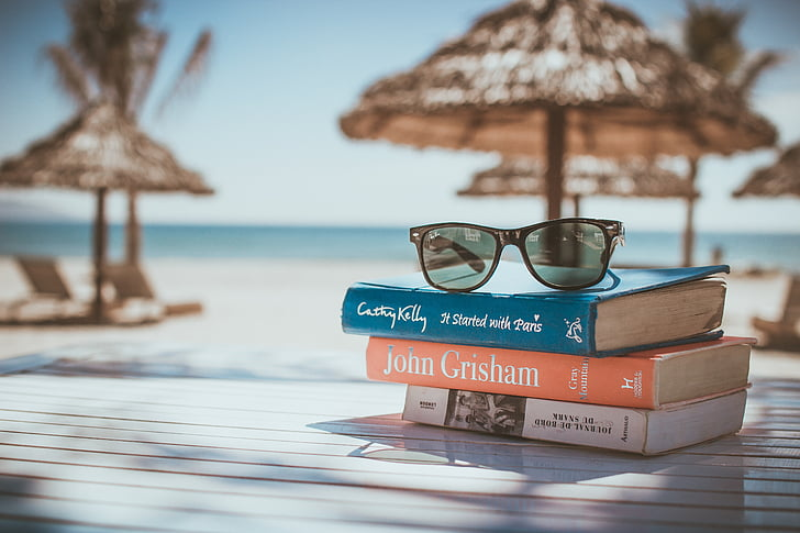 books, reading, beach, vacation, sunglasses, relax, relaxation