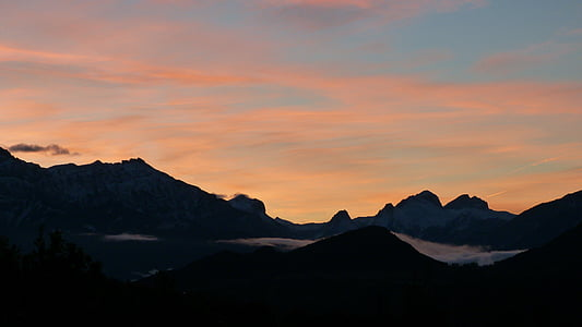 mountain, landscape, sunrise, sky, panorama, morning, against day
