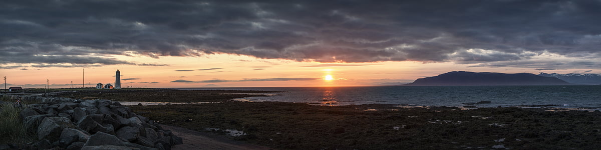 Panorama, Sunset, Island, Sky, havet, skyer, Lighthouse