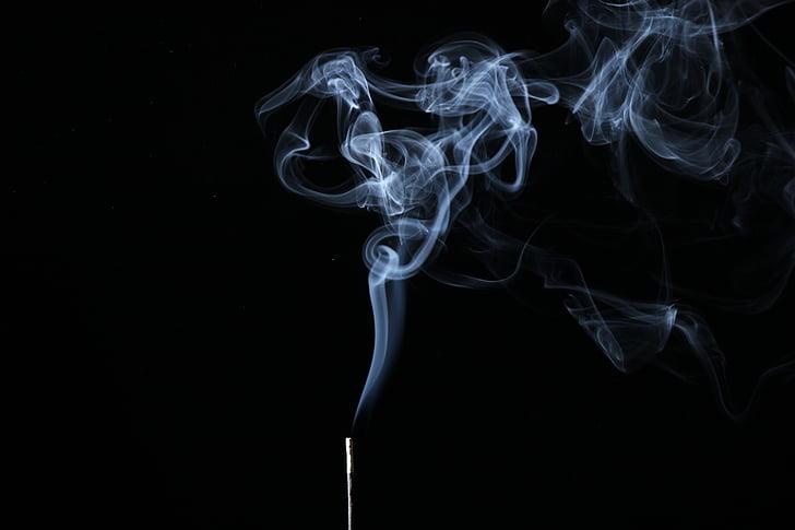 smoke, illuminated, background, black
