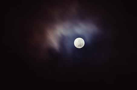 mesiac, svetlo, svetlé, tmavé, oblaky, Sky, noc