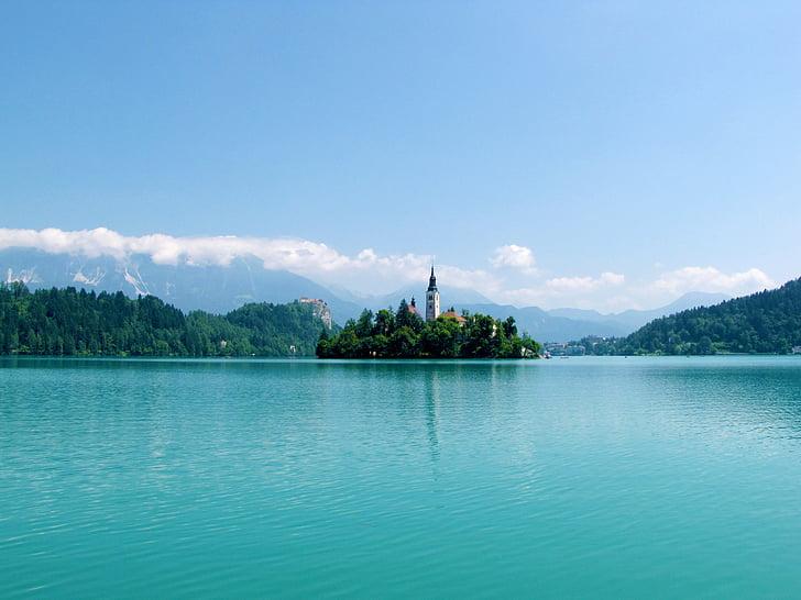 bled, lake, slovenia, water, landmark, island, church