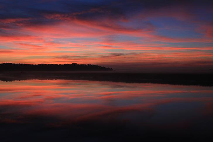 soluppgång, Georgien sunrise, Georgien, vatten, naturen, morgon, floden