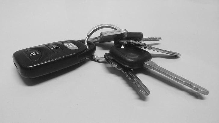 claus, cotxe, tecla d'encesa, clau, clauers, transport, Inici
