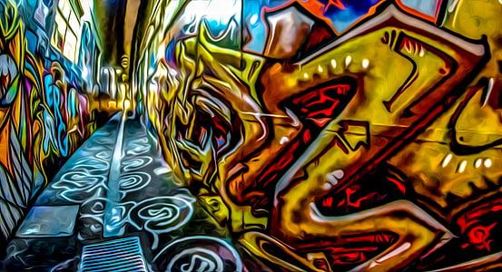 graffiti, grunge, festék, Street art, spray, Granada graffiti-tól