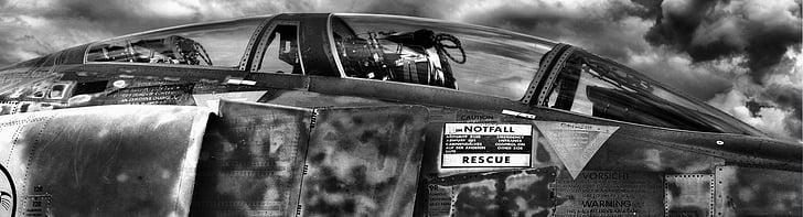 HDR, aviões, fantasma, cabina do piloto, fotografia de HDR, preto e branco, imagem HDR