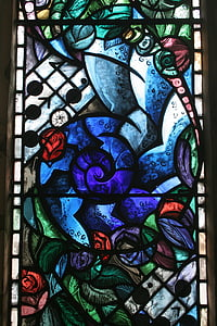 彩色玻璃窗口, 染色, 玻璃, 窗口, 教会, 纪念, 蓝色