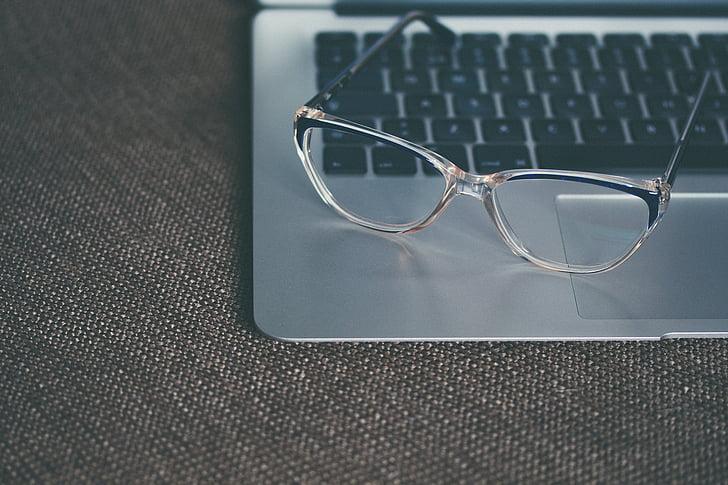 počítač, brýle, šedá, přenosný počítač, MacBook