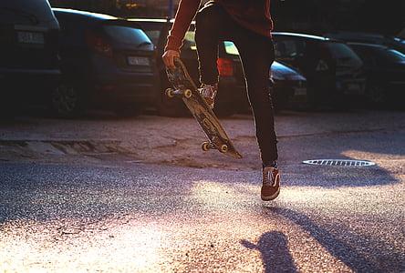 persona, carretera, sabates, Bathyraja, monopatí, Skateboarder, skate