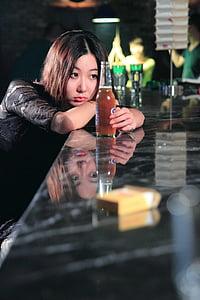woman, bar, girls, model
