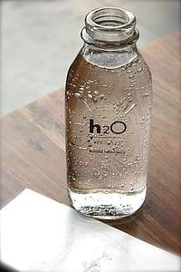 ampolla, vidre, l'aigua, text, taula, l'interior, líquid