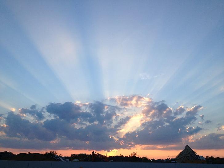 solnedgång, siluett, Sky, Utomhus, solen, moln, naturen