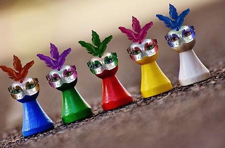 màscares, Carnaval, jugar pedra, ploma, divertit, caràcters de joc, múltiples colors