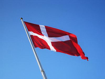 danish flag, denmark, danish, flag, national flag, blue sky, geflaggt