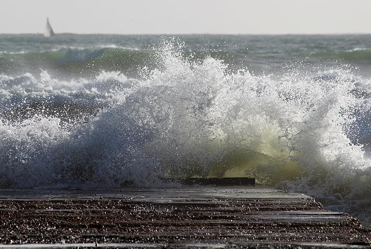 tenger, hullám, dagad, Web, spray, nyugtalan, óceán