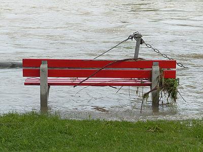 marée haute, Banc de parc, inondées, rouge, en cas de catastrophe naturelle, Flotsam and jetsam, contre les inondations