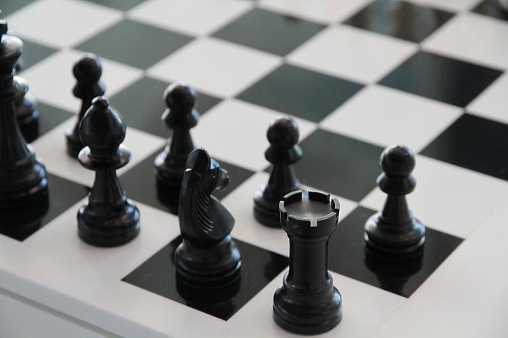 šachy, černá, hrát, bílá, věž, černá a bílá, strategii