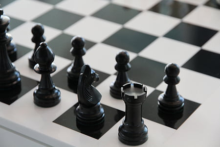 chess, black, play, white, tower, black and white, strategy