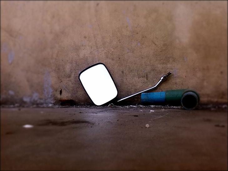 espelho de condução, espelho traseiro, espelho retrovisor, espelho retrovisor, espelho retrovisor, quebrado, acidente