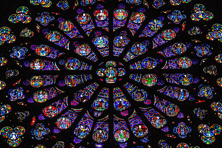 finestra de vidre, roseta, finestra de l'església, Notre-dame, resum, patró, fons