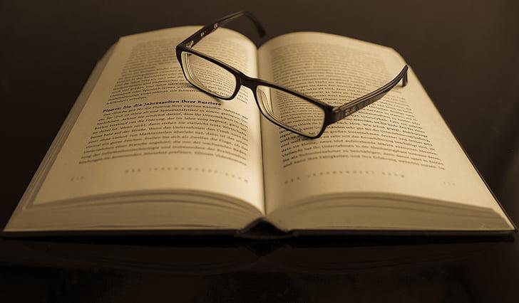 book, eyeglasses, eyewear, information, knowledge, pages, papers