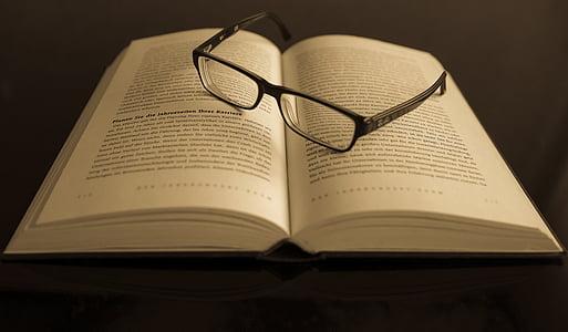το βιβλίο, γυαλιά οράσεως, γυαλιά ηλίου, πληροφορίες, γνώση, σελίδες, έγγραφα