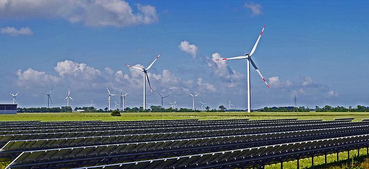 solarpark, veter park, obnovljivih virov energije, solarni moduli, obalne regije, nordfriesland, NF