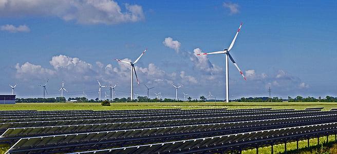 solarpark, Parc del vent, energies renovables, mòduls solars, regió costanera, Nordfriesland, NF