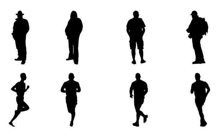 silhouetten, mannen, man, man silhouet, silhouet man, zwart, vorm