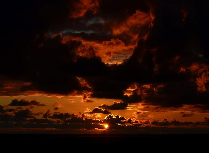 일몰, 분위기, abendstimmung, 조명, 저녁 하늘, 구름, 북 해 해안
