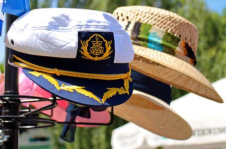 protecció solar, gorra, gorra de capità, barret, original, barret per al sol, roba
