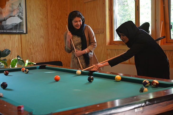 youth centre, girl, billiards, afghanistan, play, joy, young