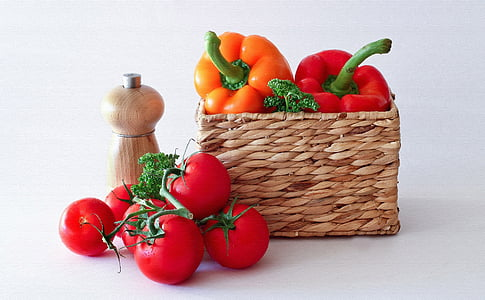 pomidory, papryka, jedzenie, warzywa, smaczny, czerwony, witaminy