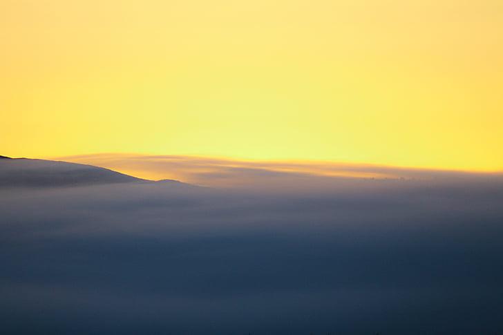 cinza, amarelo, pintura, pôr do sol, nuvens, laranja, céu