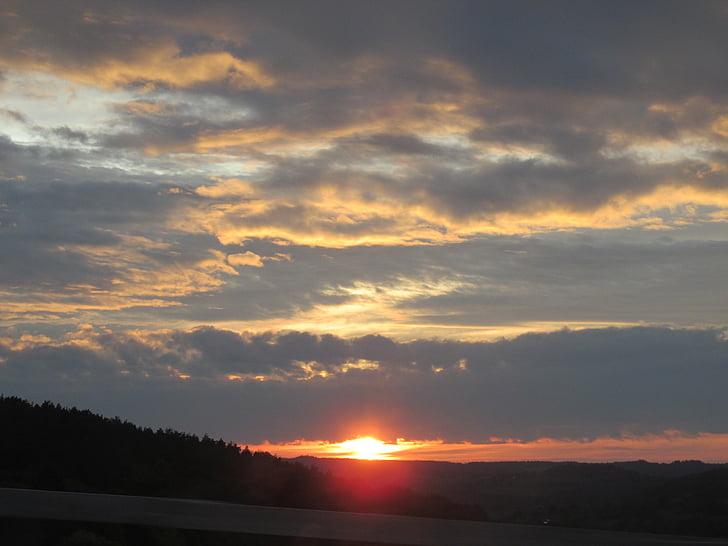 sun, sunset, on the go, setting sun, clouds, orange, yellow