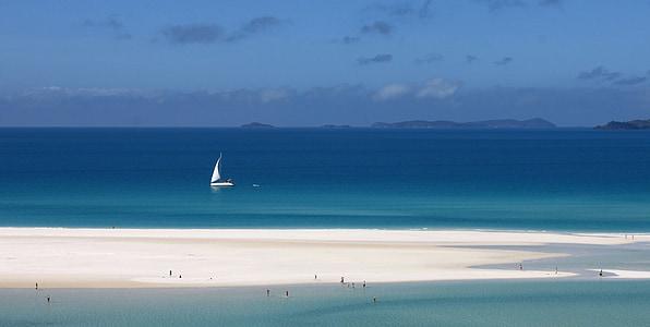 valge liiv, idarannikul, Vaikse ookeani, Sea, sinine, Outlook, greatbarrier reef