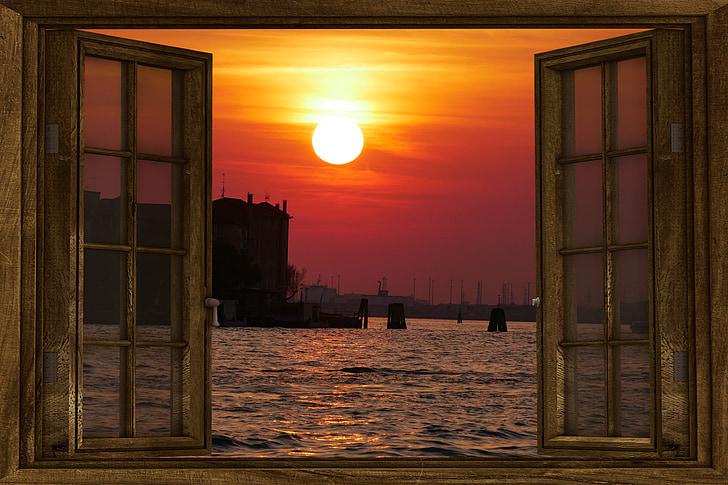 natureza, sol, pôr do sol, céu da noite, abendstimmung, céu, janela