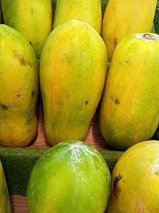 παπάγια, σωρός, πράσινη παπάγια, Σιγκαπούρη, φρούτα, ζουμερά, τροφίμων