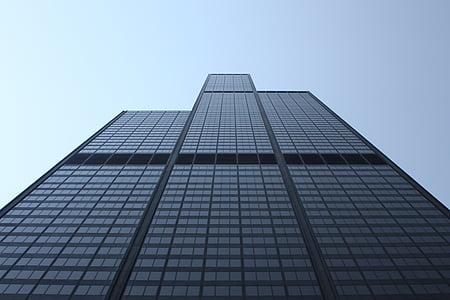 hoone, perspektiivi, pilvelõhkuja, ettevõtte, kaasaegne, arhitektuur, välisilme