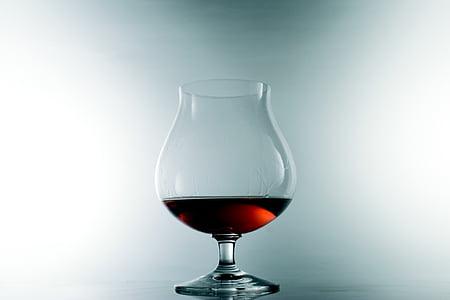 Κύπελλο, κονιάκ, αλκοόλ, κρασί, ποτήρι κρασιού, κόκκινο κρασί, ένα ποτήρι