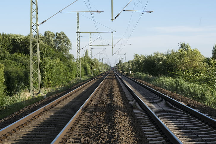 train, tracks, railroad, transportation, railway, perspective, sky