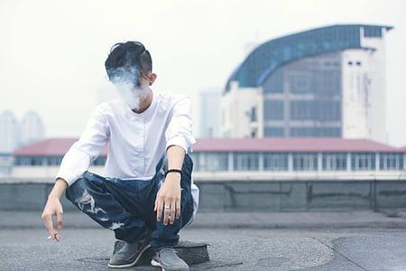 man, white, raglan, shirt, jeans, smoking, people