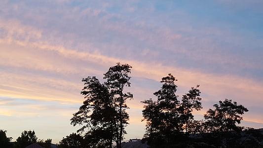 pôr do sol, arrebol, céu, abendstimmung, romântico, pôr do sol, nuvens