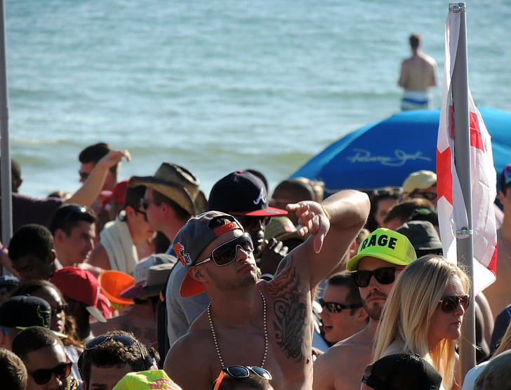 festa a la platja, vacances de primavera, Califòrnia, Uvas, individu, joves universitaris, grup