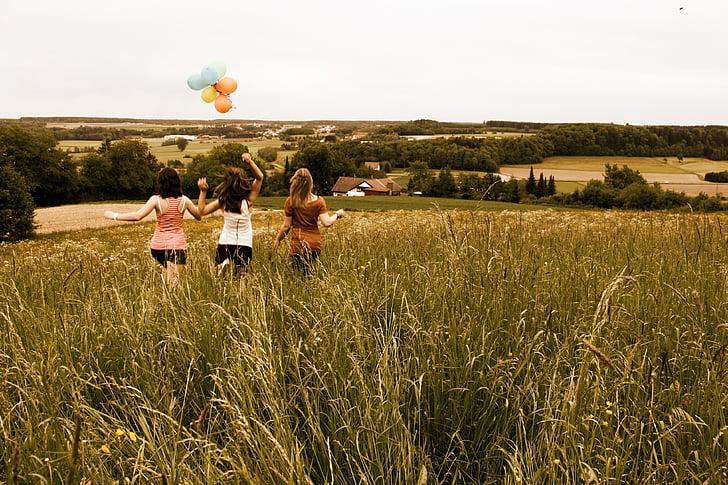 radość życia, łąka, Dziewczyna, człowieka, na żywo