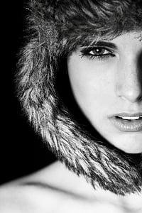 femení, noia, Retrat, model de bellesa, l'exposició, contacte, fotografia
