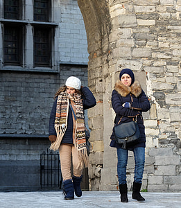 turistov, Antverpy, pohľad vidieť, kameň, priateľka, dievča priatelia, Pešia turistika