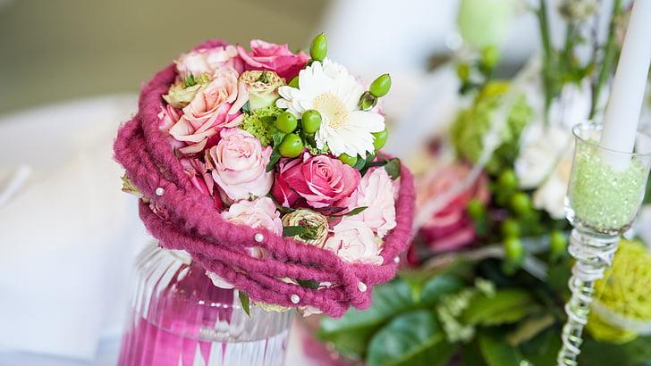 ramo de novia, flores, ramo de la, boda, casarse con, flor color de rosa