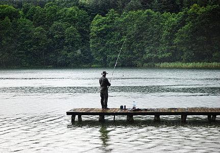 angler, rain, hunting, fishing, catch, poland, water