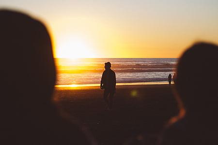 bakgrundsbelyst, Bay, stranden, oskärpa, kusten, Dawn, skymning
